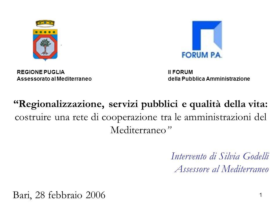 22 La programmazione 2007-2013: le priorità Inoltre, la Regione Puglia sostiene la necessità di allargare leleggibilità di alcune aree tematiche quali: 1)la valorizzazione del patrimonio culturale e naturale, anche in riferimento allintegrazione dellofferta di fruizione turistica e culturale e di quello della capacity building; 2)lo sviluppo di partenariati pubblico-privati; 3)lo sviluppo di organismi di cooperazione stabili; 4)gli interventi a sostegno della cooperazione nel settore socio-sanitario (collaborazioni tra ospedali, università e centri di ricerca e scambio di esperienze nel settore dellassistenza sanitaria).