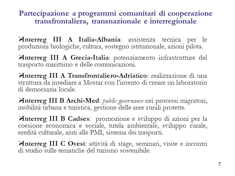 7 Partecipazione a programmi comunitari di cooperazione transfrontaliera, transnazionale e interregionale Interreg III A Italia-Albania: assistenza tecnica per le produzioni biologiche, cultura, sostegno istituzionale, azioni pilota.