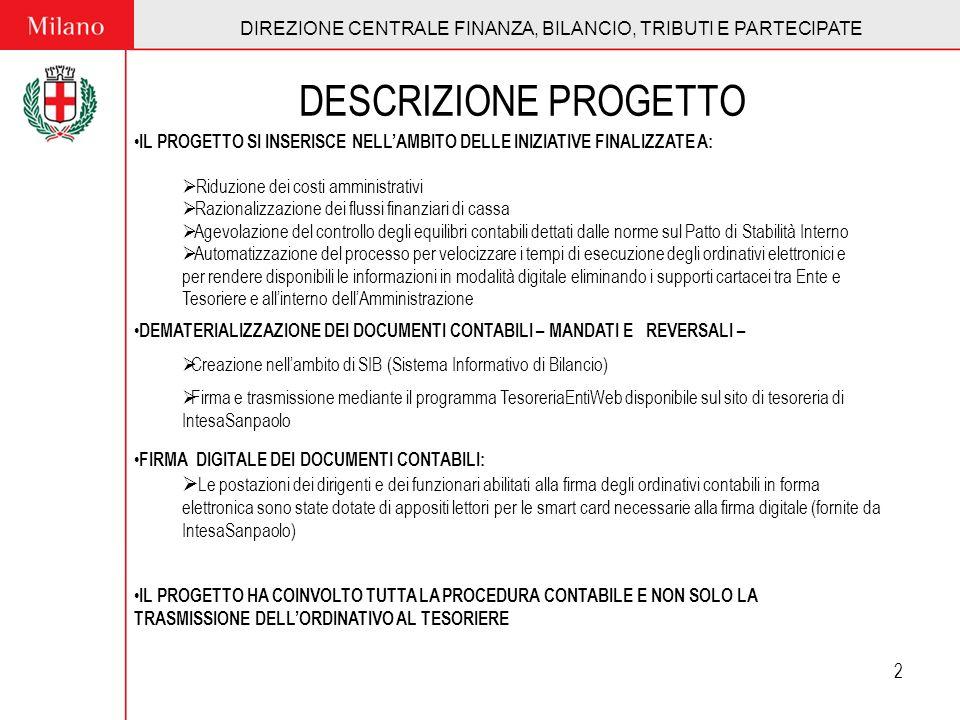 DIREZIONE CENTRALE FINANZA, BILANCIO, TRIBUTI E PARTECIPATE 3 PRODUZIONE CONTABILE DATI BILANCIO 2006 N.