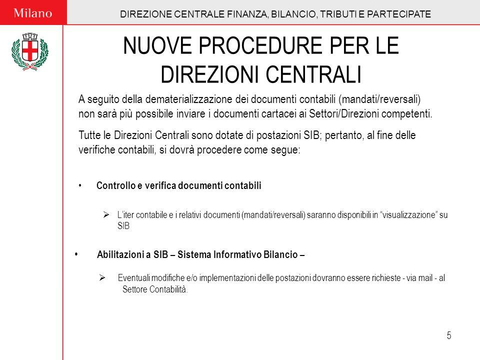 DIREZIONE CENTRALE FINANZA, BILANCIO, TRIBUTI E PARTECIPATE 5 NUOVE PROCEDURE PER LE DIREZIONI CENTRALI Controllo e verifica documenti contabili Liter