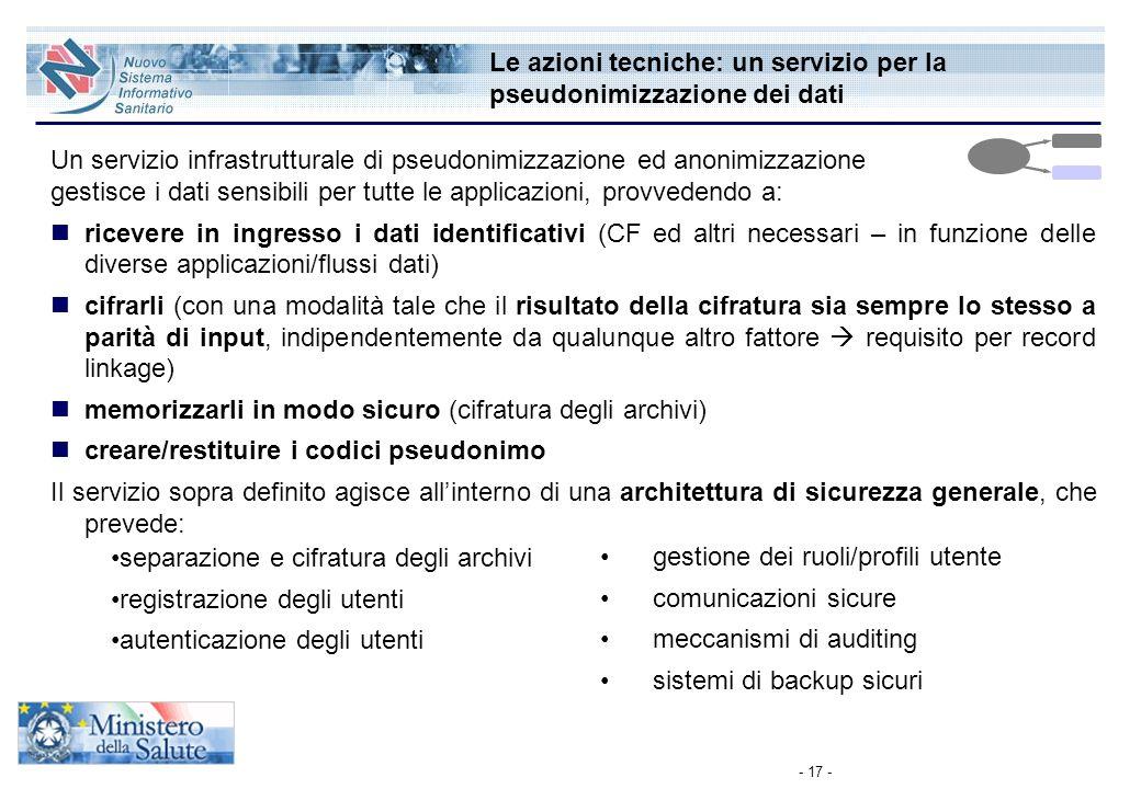 - 17 - Le azioni tecniche: un servizio per la pseudonimizzazione dei dati Un servizio infrastrutturale di pseudonimizzazione ed anonimizzazione gestis