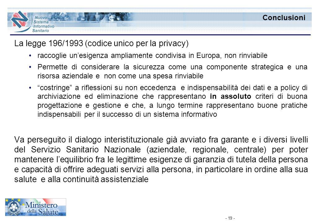 - 19 - Conclusioni La legge 196/1993 (codice unico per la privacy) raccoglie unesigenza ampliamente condivisa in Europa, non rinviabile Permette di co
