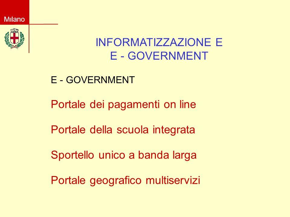 Milano INFORMATIZZAZIONE E E - GOVERNMENT Portale dei pagamenti on line Portale della scuola integrata Portale geografico multiservizi Sportello unico a banda larga