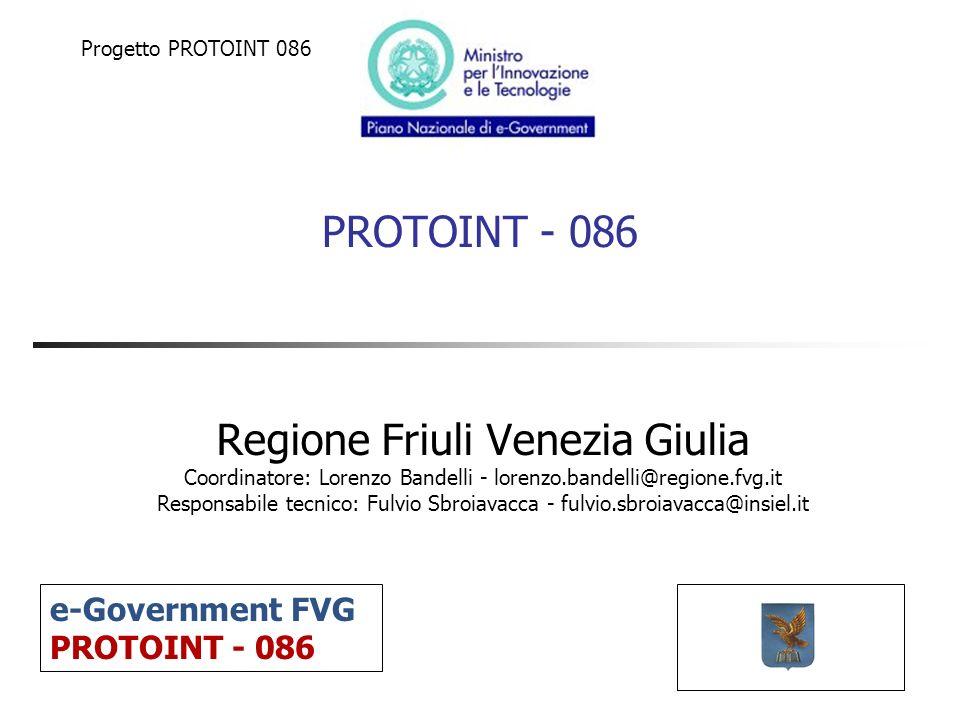 PROTOINT - 086 Regione Friuli Venezia Giulia Coordinatore: Lorenzo Bandelli - lorenzo.bandelli@regione.fvg.it Responsabile tecnico: Fulvio Sbroiavacca