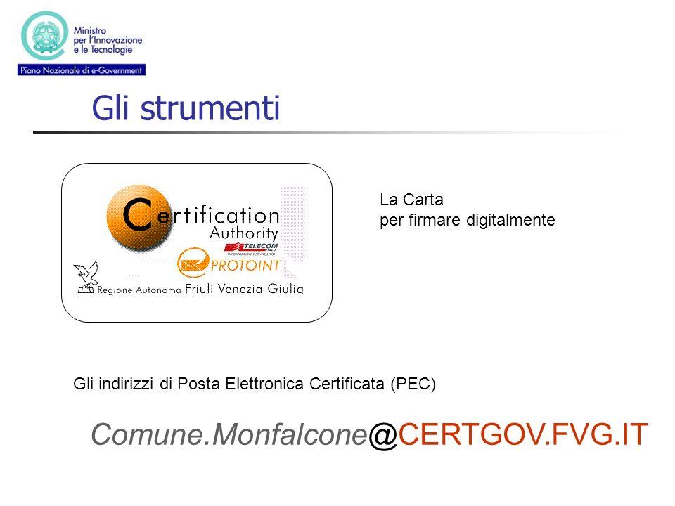 Gli strumenti La Carta per firmare digitalmente Gli indirizzi di Posta Elettronica Certificata (PEC) Comune.Monfalcone@CERTGOV.FVG.IT