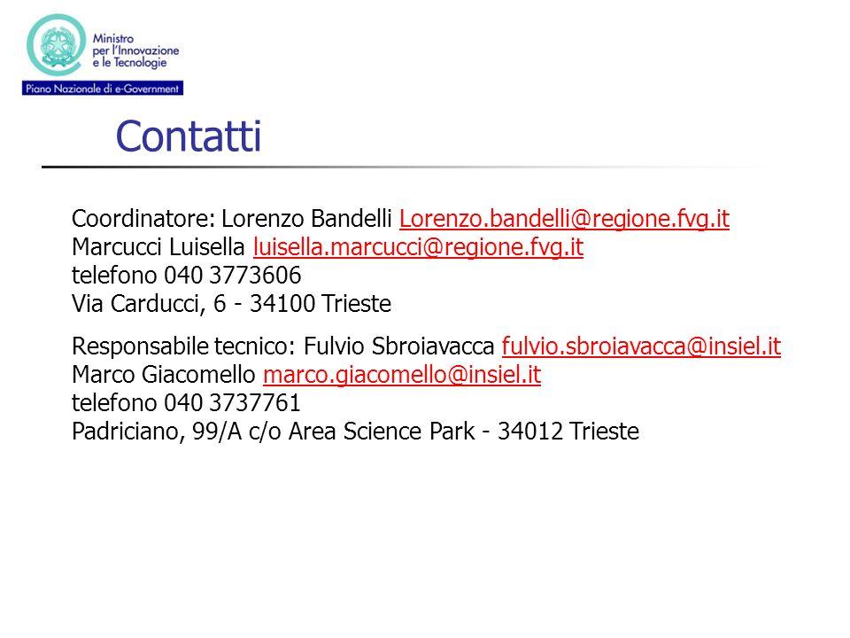 Contatti Coordinatore: Lorenzo Bandelli Lorenzo.bandelli@regione.fvg.it Marcucci Luisella luisella.marcucci@regione.fvg.it telefono 040 3773606 Via Ca