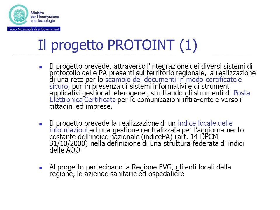 Il progetto PROTOINT (1) Il progetto prevede, attraverso l'integrazione dei diversi sistemi di protocollo delle PA presenti sul territorio regionale,