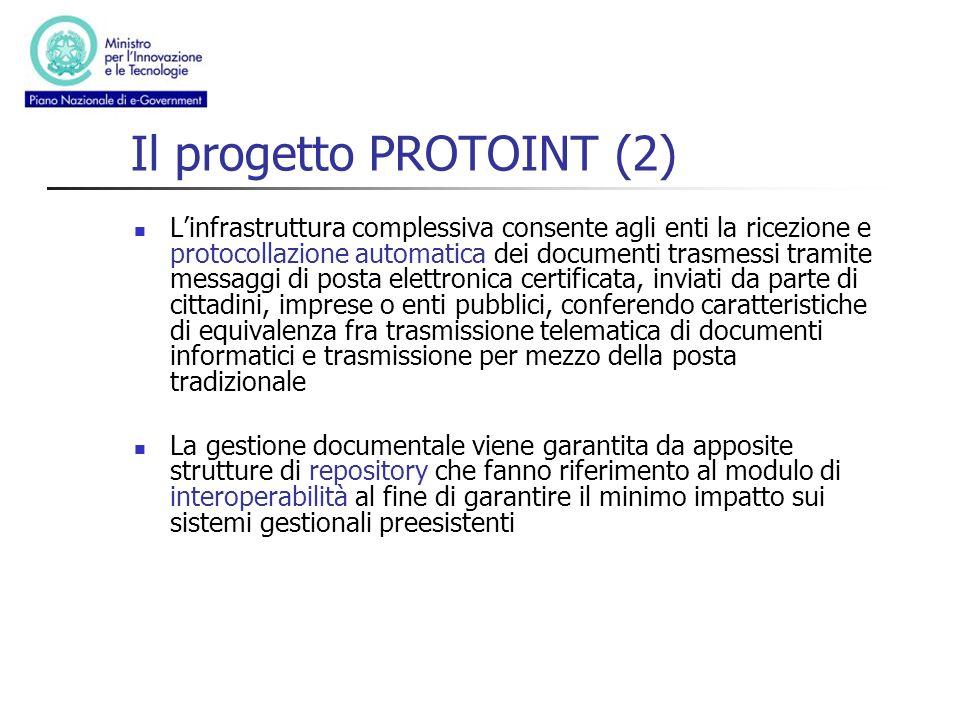 Il progetto PROTOINT (2) Linfrastruttura complessiva consente agli enti la ricezione e protocollazione automatica dei documenti trasmessi tramite mess