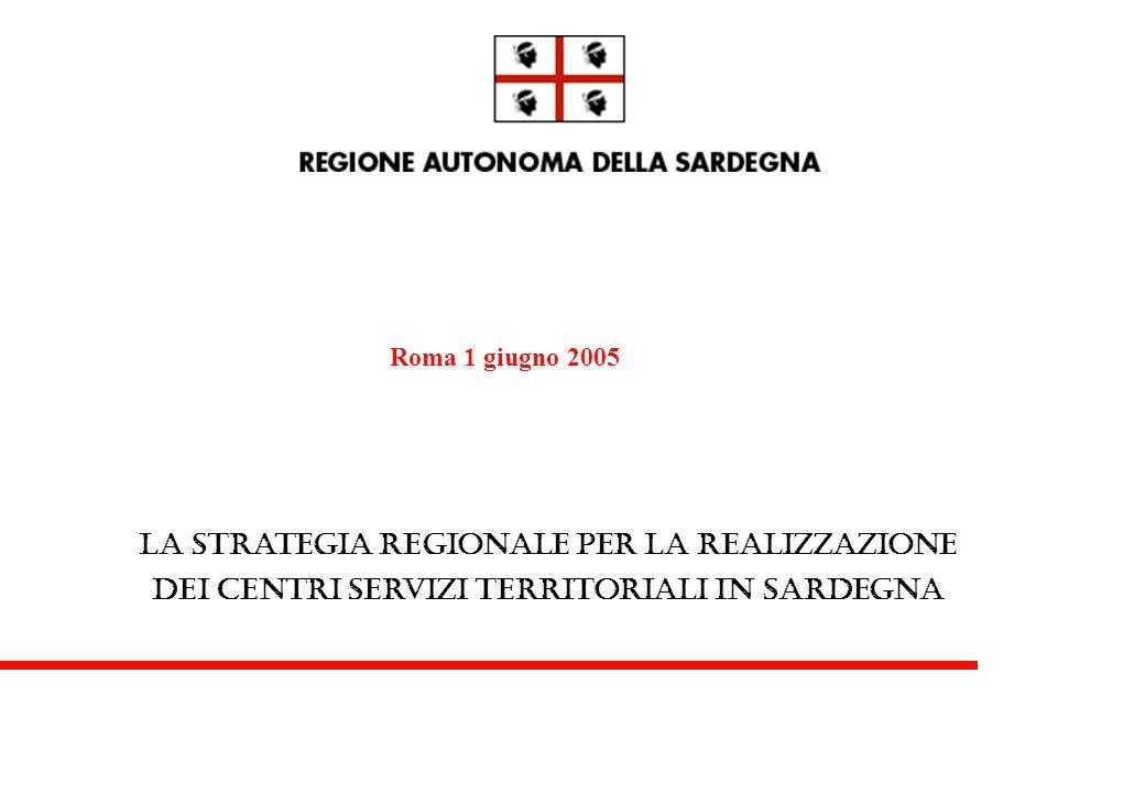 La strategia regionale per la realizzazione dei centri servizi territoriali in Sardegna Roma 1 giugno 2005