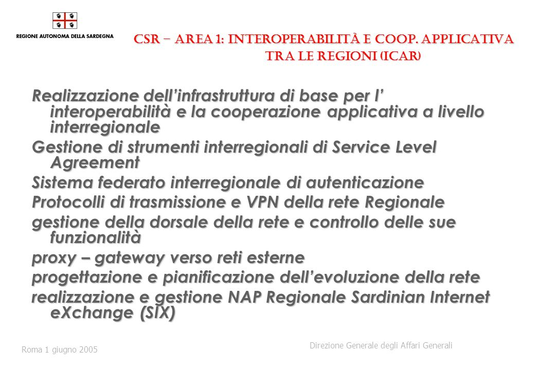 CSR – Area 1: Interoperabilità e Coop. applicativa tra le Regioni (ICAR) CSR – Area 1: Interoperabilità e Coop. applicativa tra le Regioni (ICAR) Real