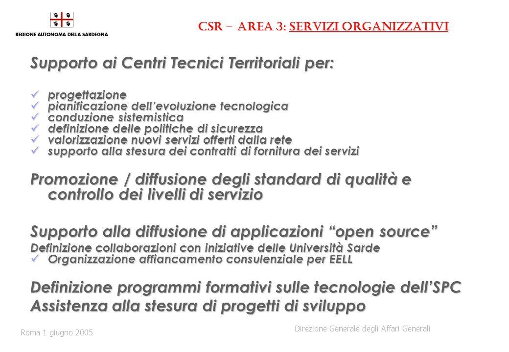CSR – Area 3: servizi organizzativi Supporto ai Centri Tecnici Territoriali per: progettazione progettazione pianificazione dellevoluzione tecnologica