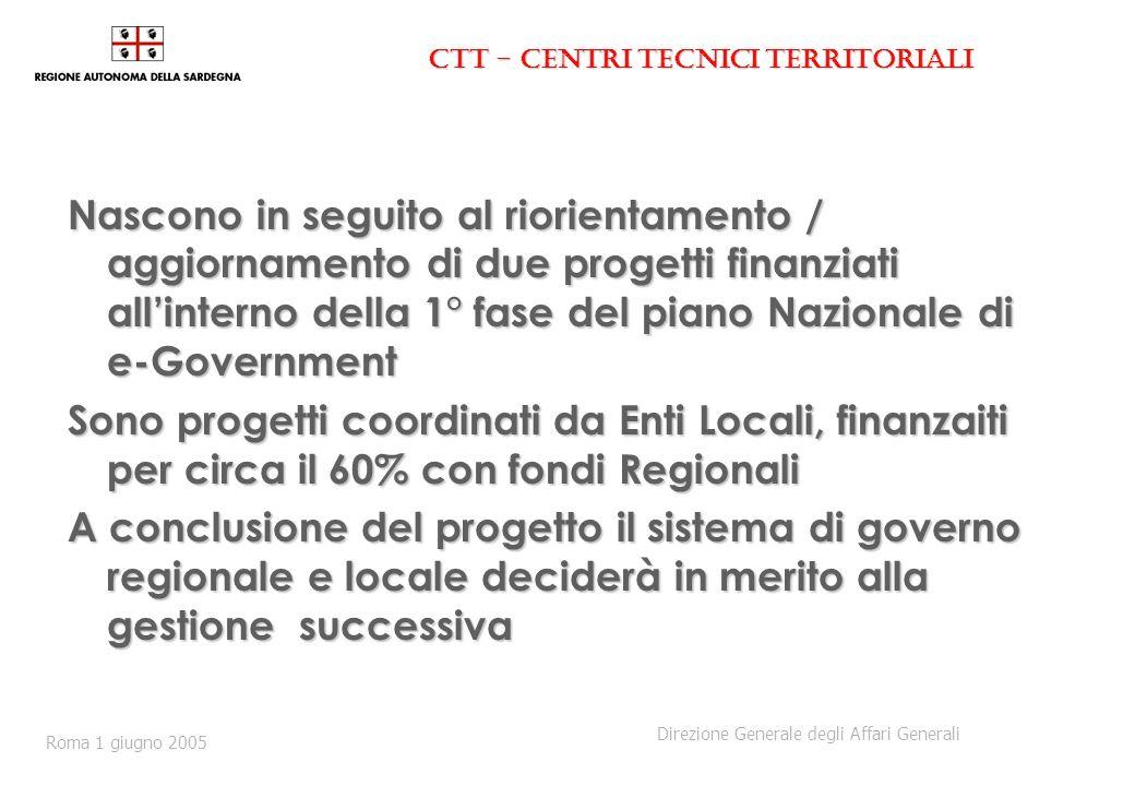 CTT - Centri Tecnici Territoriali Nascono in seguito al riorientamento / aggiornamento di due progetti finanziati allinterno della 1° fase del piano N