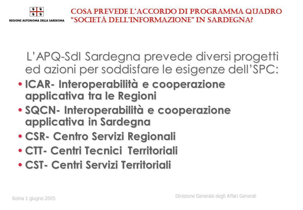 Il Centro Servizi Regionali secondo lAPQ-SdI Sardegna 1.E evidente la necessità di coordinamento settoriale e territoriale attraverso strutture a ciò deputate 2.Il CSR, unitamente ai progetti SQCN e CST, costituirà la struttura Regionale di governance della Strategia per lo sviluppo della Società dellInformazione in Sardegna 2.Il CSR, unitamente ai progetti SQCN e CST, costituirà la struttura Regionale di governance della Strategia per lo sviluppo della Società dellInformazione in Sardegna 3.Il CSR potrà utilmente supportare le decisioni per la costituzione di organismi unici e centralizzati che dovrebbero evitare ridondanze, sfasamenti e incoerenze tra le iniziative da intraprendere 3.Il CSR potrà utilmente supportare le decisioni per la costituzione di organismi unici e centralizzati che dovrebbero evitare ridondanze, sfasamenti e incoerenze tra le iniziative da intraprendere 4.Alla conclusione del progetto (fine 2007) il sistema di Governo Regionale e Locale decideranno le forme più opportune per dare carattere strutturale e stabile alle soluzioni capaci di soddisfare le esigenze di pianificazione, regia e gestione della Società dellInformazione.