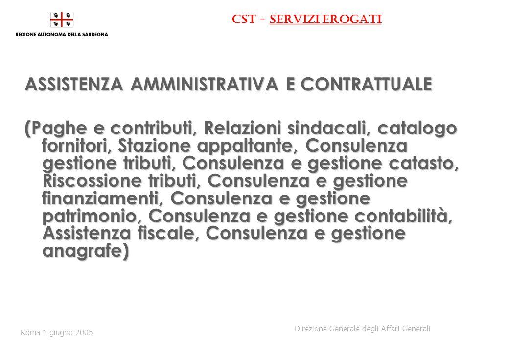 CST - servizi erogati ASSISTENZA AMMINISTRATIVA E CONTRATTUALE (Paghe e contributi, Relazioni sindacali, catalogo fornitori, Stazione appaltante, Cons