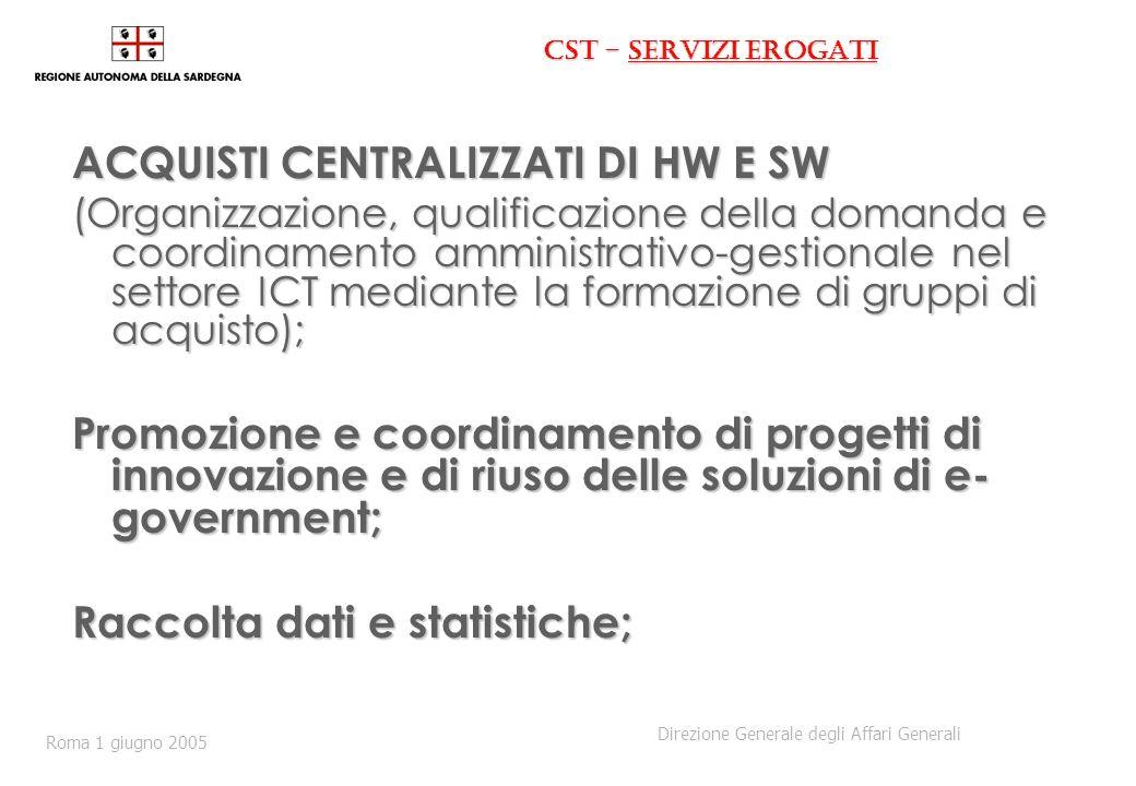 CST - servizi erogati ACQUISTI CENTRALIZZATI DI HW E SW (Organizzazione, qualificazione della domanda e coordinamento amministrativo-gestionale nel settore ICT mediante la formazione di gruppi di acquisto); Promozione e coordinamento di progetti di innovazione e di riuso delle soluzioni di e- government; Raccolta dati e statistiche; Direzione Generale degli Affari Generali Roma 1 giugno 2005