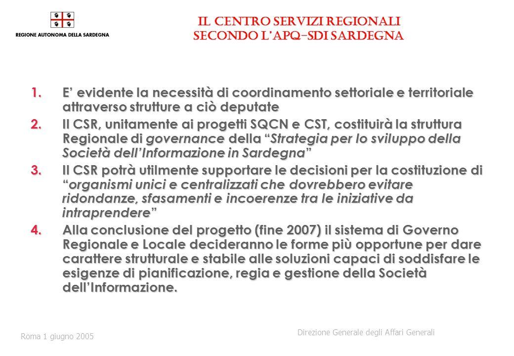 Il Centro Servizi Regionali secondo lAPQ-SdI Sardegna 1.E evidente la necessità di coordinamento settoriale e territoriale attraverso strutture a ciò