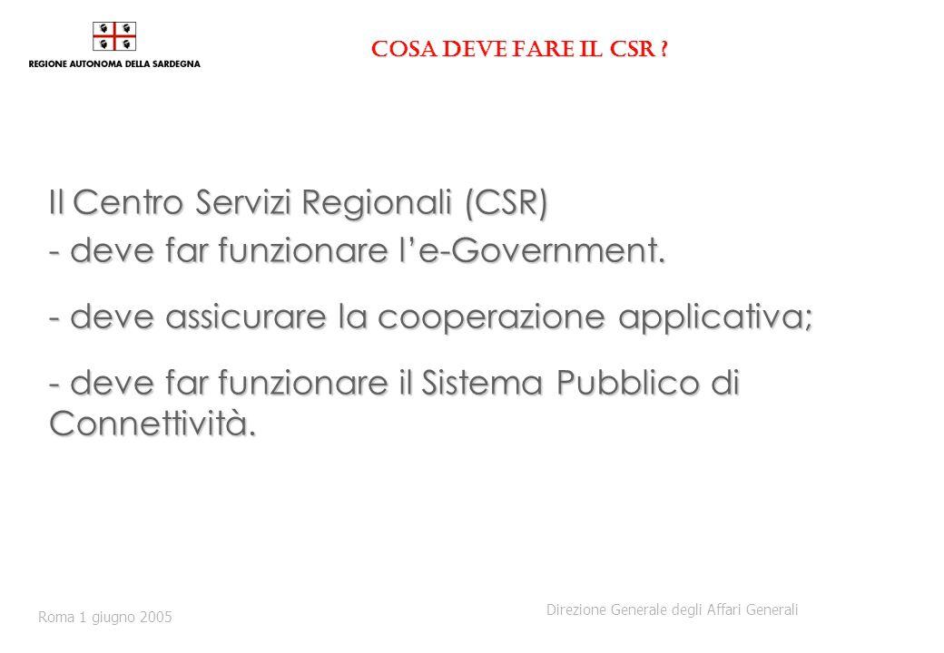 Cosa deve fare il CSR ? Il Centro Servizi Regionali (CSR) - deve far funzionare le-Government. - deve assicurare la cooperazione applicativa; - deve f