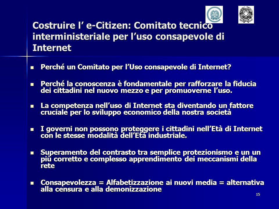 15 Costruire l e-Citizen: Comitato tecnico interministeriale per luso consapevole di Internet Perché un Comitato per lUso consapevole di Internet.