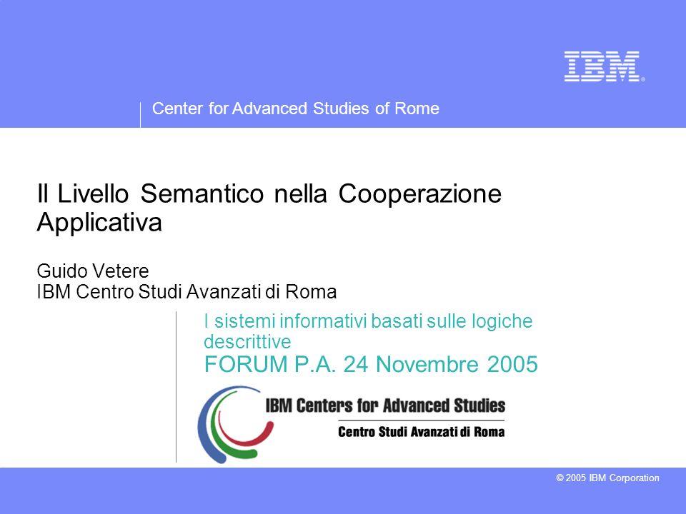 Center for Advanced Studies of Rome © 2005 IBM Corporation Il Livello Semantico nella Cooperazione Applicativa Guido Vetere IBM Centro Studi Avanzati