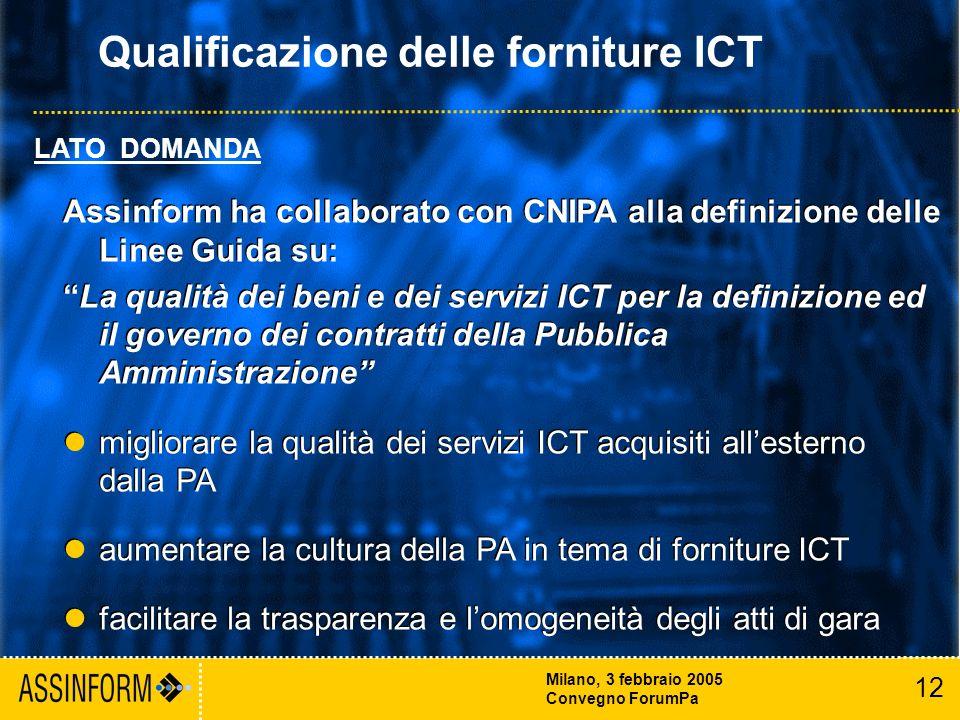 12 Milano, 3 febbraio 2005 Convegno ForumPa Assinform ha collaborato con CNIPA alla definizione delle Linee Guida su: La qualità dei beni e dei servizi ICT per la definizione ed il governo dei contratti della Pubblica Amministrazione migliorare la qualità dei servizi ICT acquisiti allesterno dalla PA aumentare la cultura della PA in tema di forniture ICT facilitare la trasparenza e lomogeneità degli atti di gara Assinform ha collaborato con CNIPA alla definizione delle Linee Guida su: La qualità dei beni e dei servizi ICT per la definizione ed il governo dei contratti della Pubblica Amministrazione migliorare la qualità dei servizi ICT acquisiti allesterno dalla PA aumentare la cultura della PA in tema di forniture ICT facilitare la trasparenza e lomogeneità degli atti di gara LATO DOMANDA Qualificazione delle forniture ICT