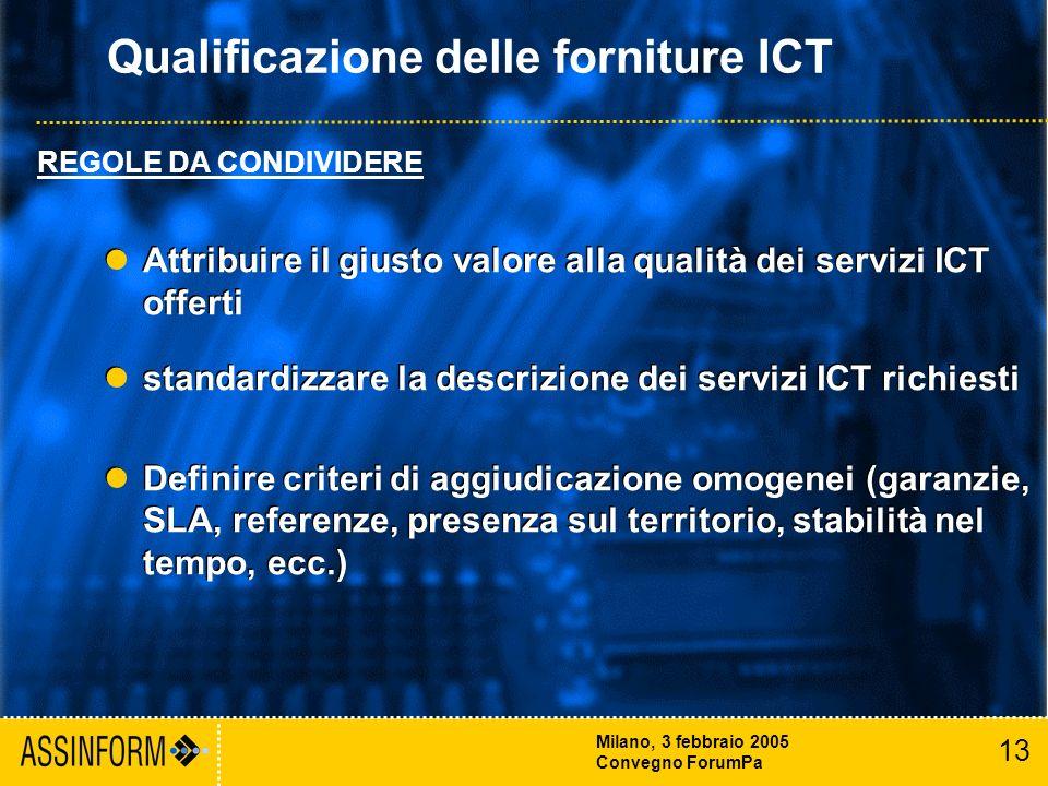 13 Milano, 3 febbraio 2005 Convegno ForumPa Attribuire il giusto valore alla qualità dei servizi ICT offerti standardizzare la descrizione dei servizi ICT richiesti Definire criteri di aggiudicazione omogenei (garanzie, SLA, referenze, presenza sul territorio, stabilità nel tempo, ecc.) Attribuire il giusto valore alla qualità dei servizi ICT offerti standardizzare la descrizione dei servizi ICT richiesti Definire criteri di aggiudicazione omogenei (garanzie, SLA, referenze, presenza sul territorio, stabilità nel tempo, ecc.) Qualificazione delle forniture ICT REGOLE DA CONDIVIDERE