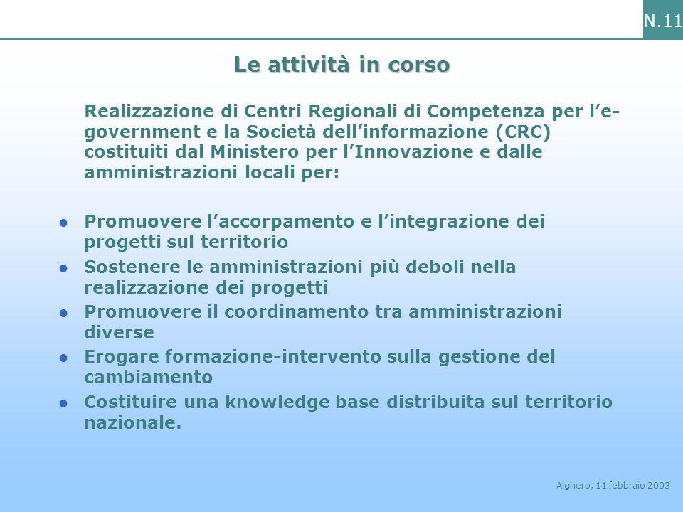 N.11 Alghero, 11 febbraio 2003 Le attività in corso Realizzazione di Centri Regionali di Competenza per le- government e la Società dellinformazione (