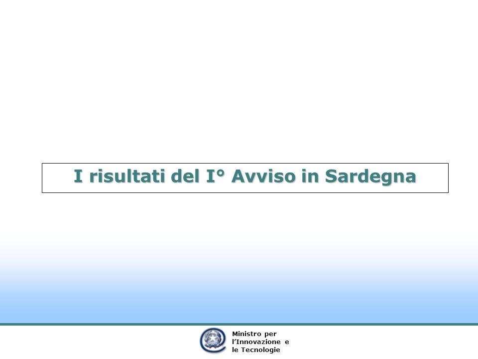 Ministro per lInnovazione e le Tecnologie I risultati del I° Avviso in Sardegna