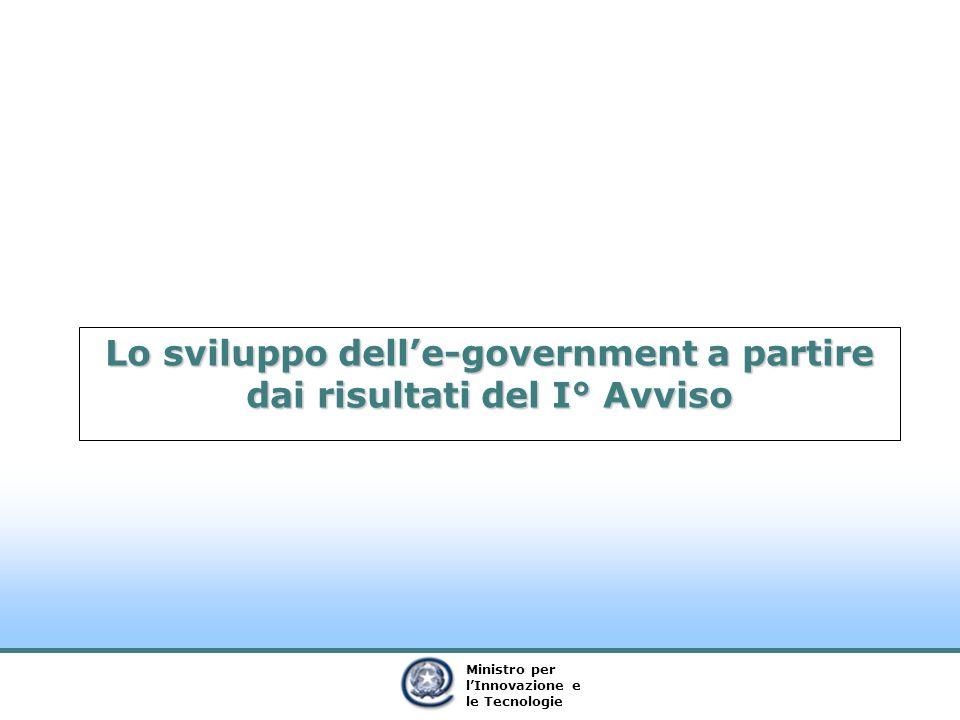 Ministro per lInnovazione e le Tecnologie Lo sviluppo delle-government a partire dai risultati del I° Avviso