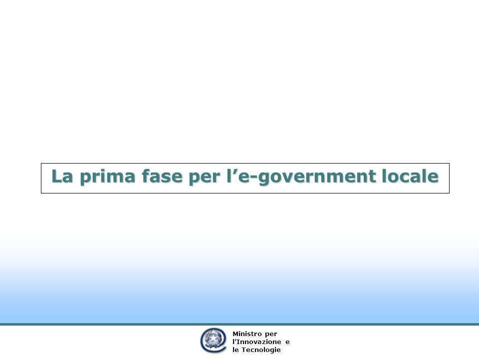 Ministro per lInnovazione e le Tecnologie La prima fase per le-government locale