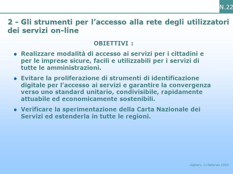 N.22 Alghero, 11 febbraio 2003 2 - Gli strumenti per laccesso alla rete degli utilizzatori dei servizi on-line OBIETTIVI : Realizzare modalità di acce