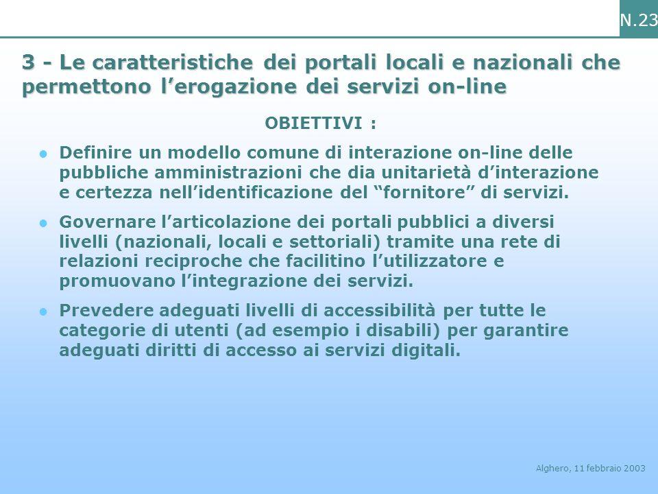 N.23 Alghero, 11 febbraio 2003 3 - Le caratteristiche dei portali locali e nazionali che permettono lerogazione dei servizi on-line OBIETTIVI : Defini