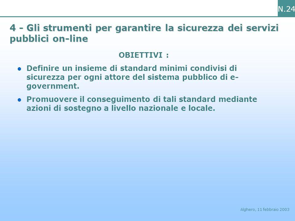 N.24 Alghero, 11 febbraio 2003 4 - Gli strumenti per garantire la sicurezza dei servizi pubblici on-line OBIETTIVI : Definire un insieme di standard m