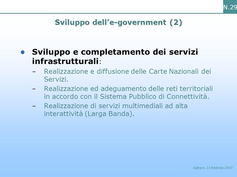 N.29 Alghero, 11 febbraio 2003 Sviluppo delle-government (2) Sviluppo e completamento dei servizi infrastrutturali : – Realizzazione e diffusione dell