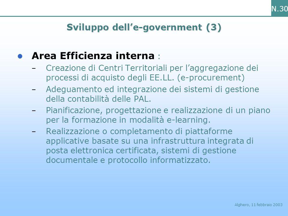 N.30 Alghero, 11 febbraio 2003 Sviluppo delle-government (3) Area Efficienza interna : – Creazione di Centri Territoriali per laggregazione dei proces
