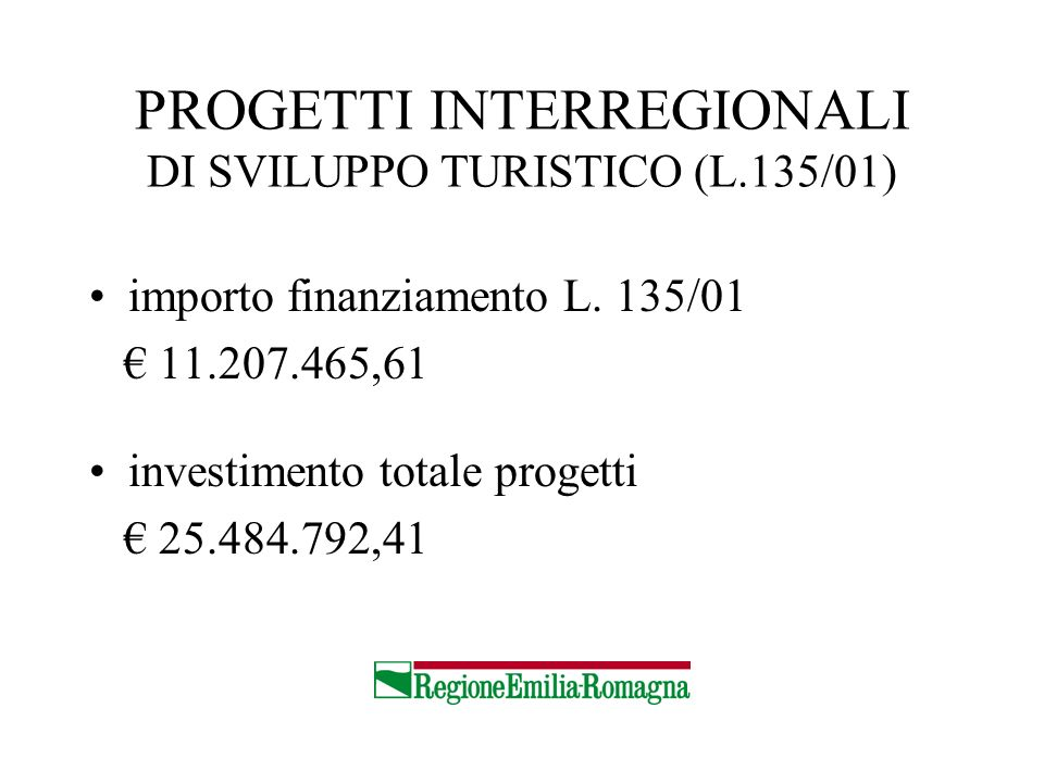 PROGETTI INTERREGIONALI DI SVILUPPO TURISTICO (L.135/01) importo finanziamento L. 135/01 11.207.465,61 investimento totale progetti 25.484.792,41