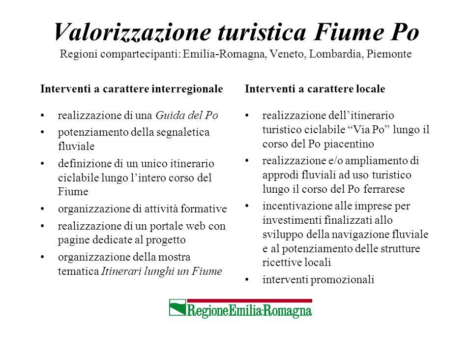 Valorizzazione turistica Fiume Po Regioni compartecipanti: Emilia-Romagna, Veneto, Lombardia, Piemonte Interventi a carattere interregionale realizzaz