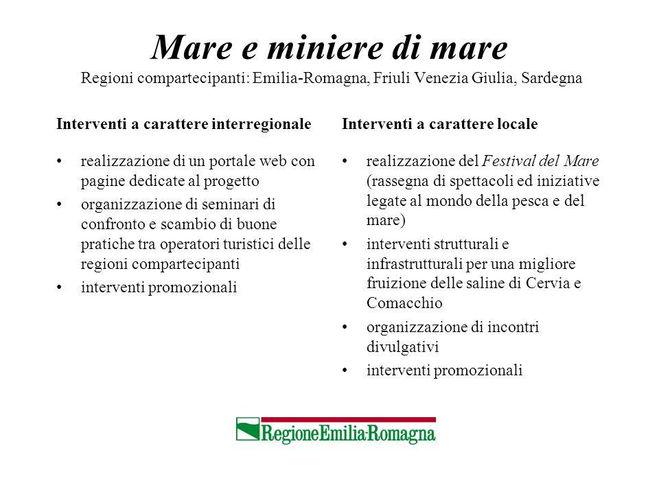 Mare e miniere di mare Regioni compartecipanti: Emilia-Romagna, Friuli Venezia Giulia, Sardegna Interventi a carattere interregionale realizzazione di