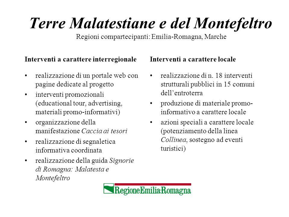 Terre Malatestiane e del Montefeltro Regioni compartecipanti: Emilia-Romagna, Marche Interventi a carattere interregionale realizzazione di un portale