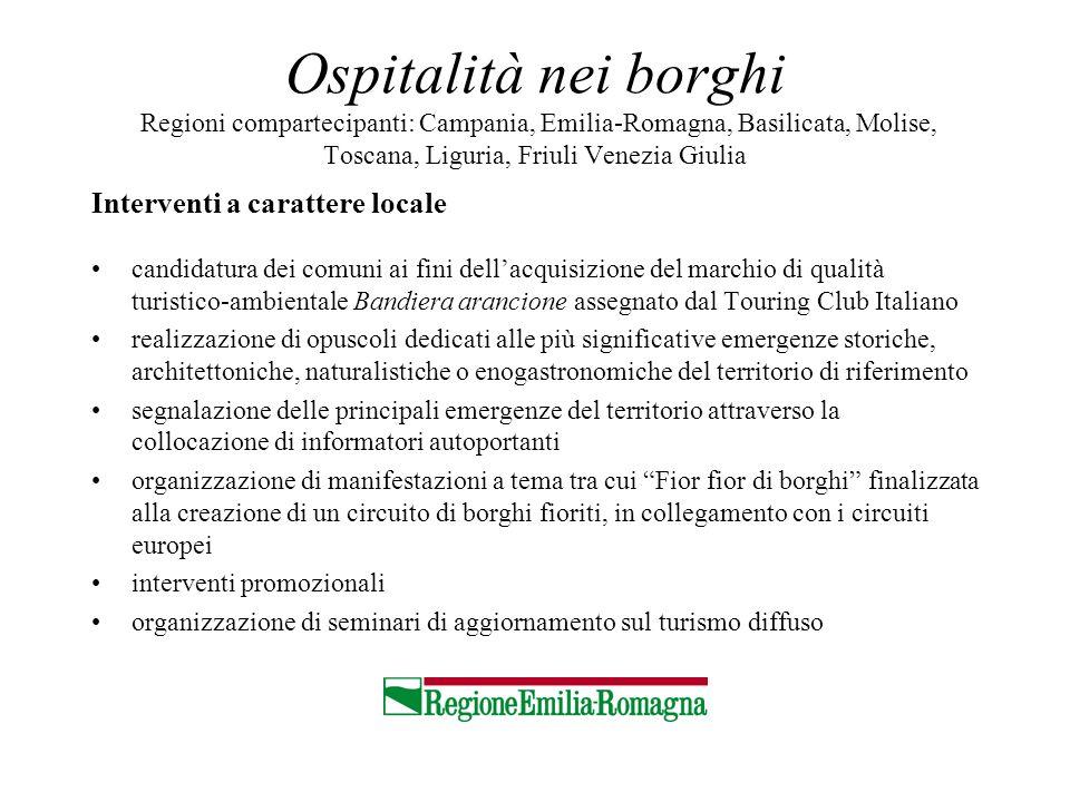 Ospitalità nei borghi Regioni compartecipanti: Campania, Emilia-Romagna, Basilicata, Molise, Toscana, Liguria, Friuli Venezia Giulia Interventi a cara