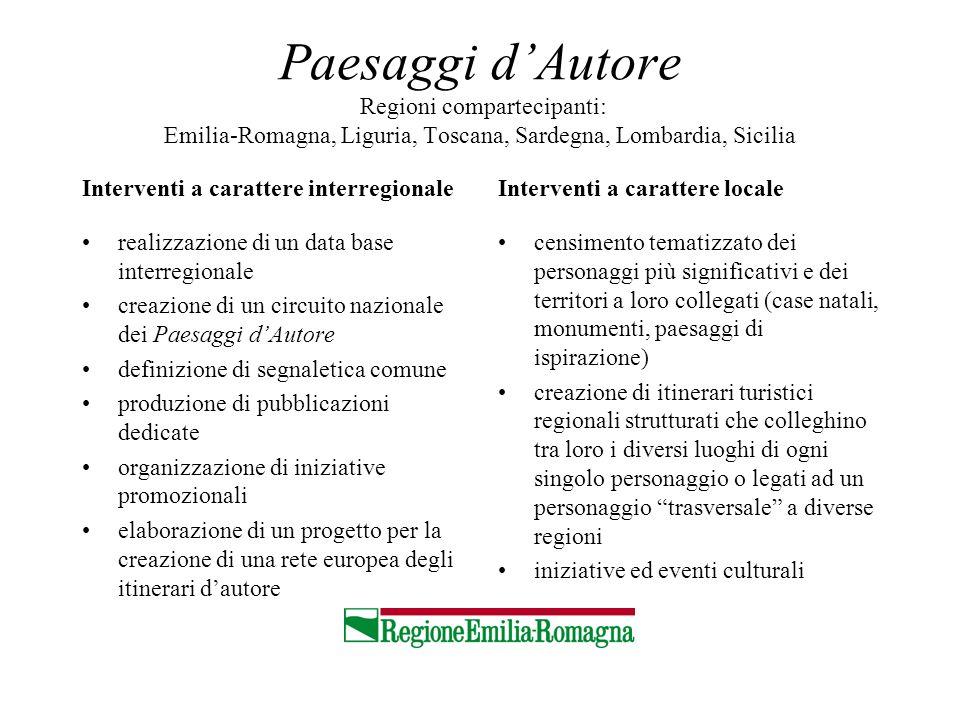 Paesaggi dAutore Regioni compartecipanti: Emilia-Romagna, Liguria, Toscana, Sardegna, Lombardia, Sicilia Interventi a carattere interregionale realizz