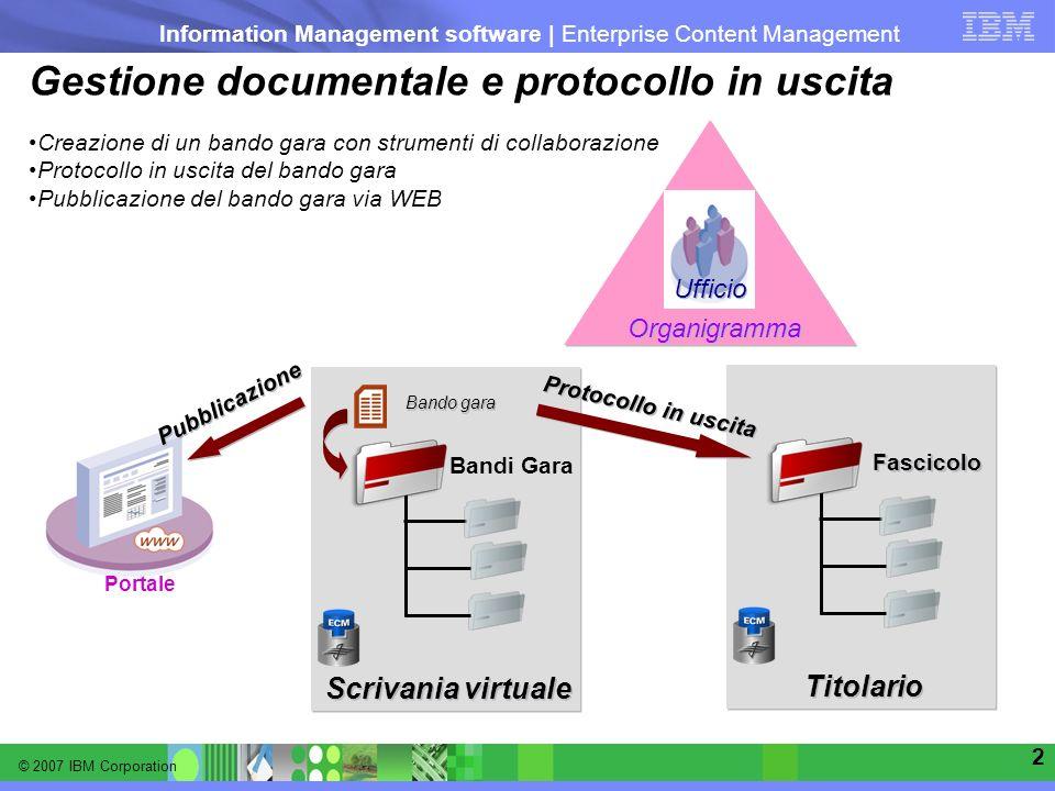 © 2007 IBM Corporation Information Management software | Enterprise Content Management 2 Gestione documentale e protocollo in uscita Bando gara Bandi