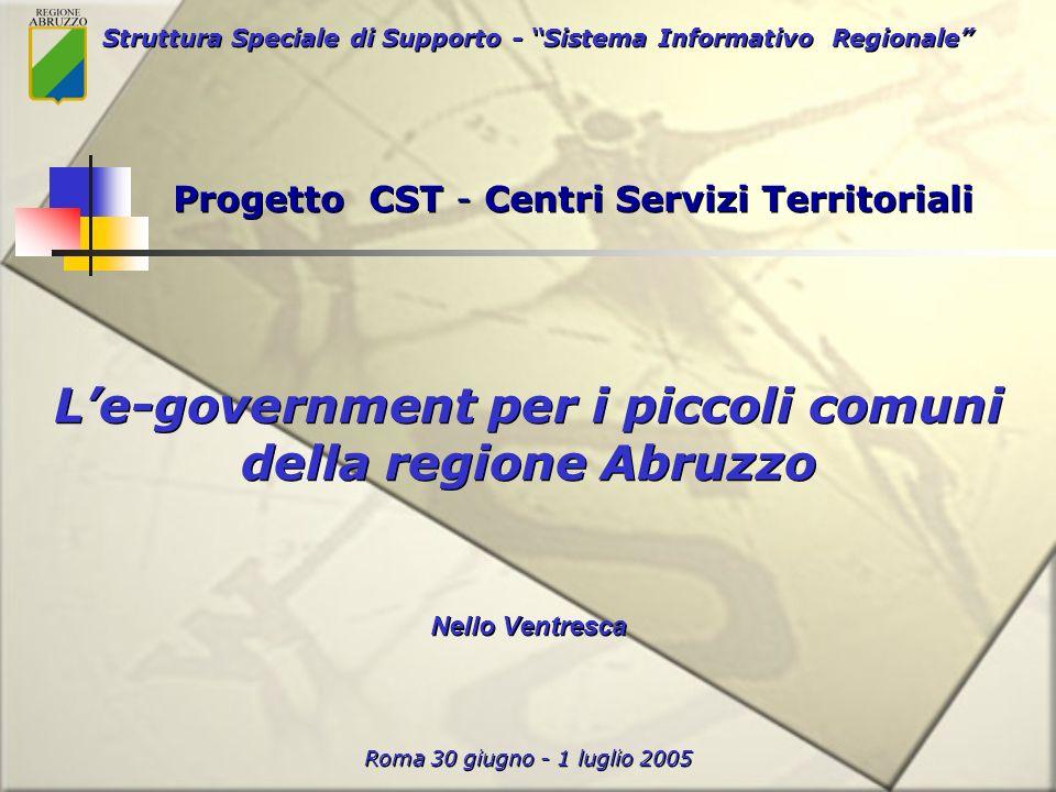 Struttura Speciale di Supporto - Sistema Informativo Regionale Roma 30 giugno - 1 luglio 2005 Le-government per i piccoli comuni della regione Abruzzo Nello Ventresca Progetto CST - Centri Servizi Territoriali
