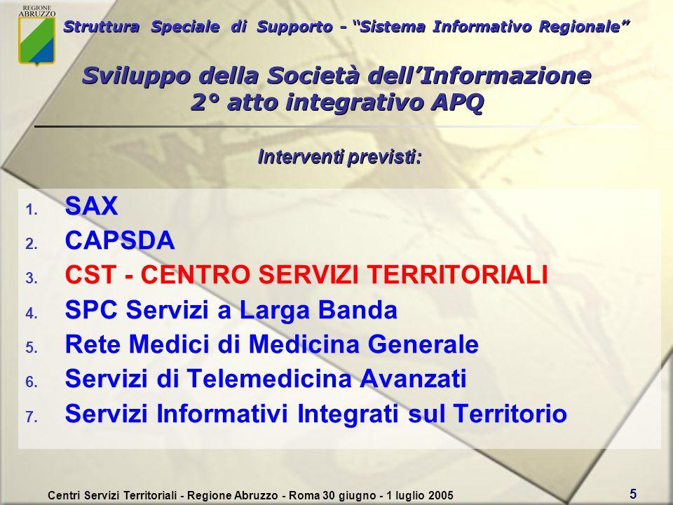 Struttura Speciale di Supporto - Sistema Informativo Regionale Centri Servizi Territoriali - Regione Abruzzo - Roma 30 giugno - 1 luglio 2005 5 Sviluppo della Società dellInformazione 2° atto integrativo APQ 1.