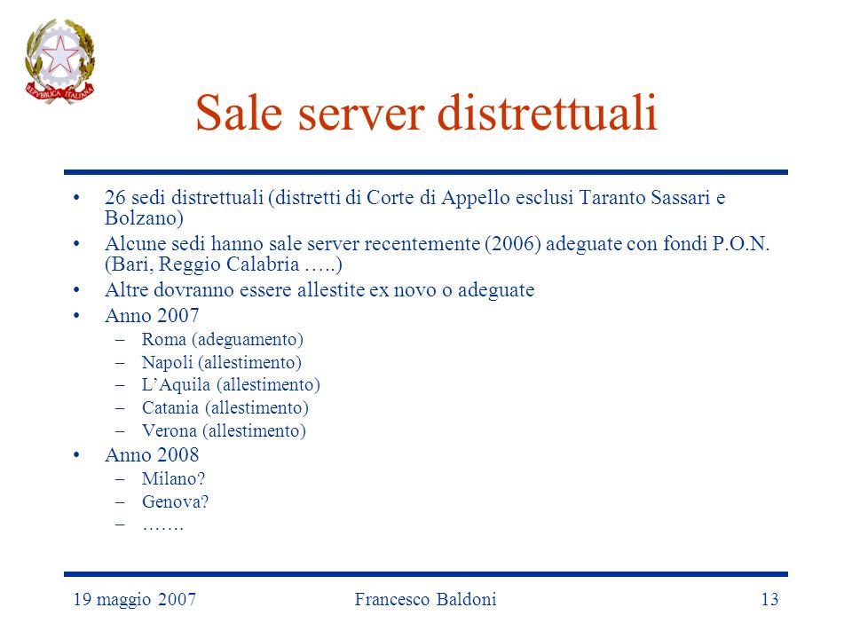 19 maggio 2007Francesco Baldoni13 Sale server distrettuali 26 sedi distrettuali (distretti di Corte di Appello esclusi Taranto Sassari e Bolzano) Alcune sedi hanno sale server recentemente (2006) adeguate con fondi P.O.N.