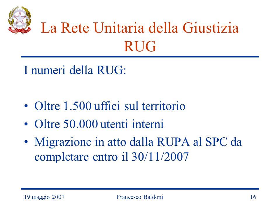 19 maggio 2007Francesco Baldoni16 La Rete Unitaria della Giustizia RUG I numeri della RUG: Oltre 1.500 uffici sul territorio Oltre 50.000 utenti interni Migrazione in atto dalla RUPA al SPC da completare entro il 30/11/2007