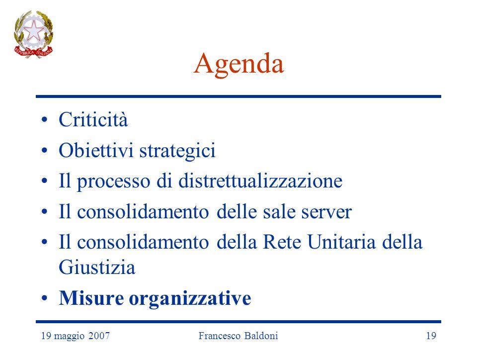 19 maggio 2007Francesco Baldoni19 Agenda Criticità Obiettivi strategici Il processo di distrettualizzazione Il consolidamento delle sale server Il consolidamento della Rete Unitaria della Giustizia Misure organizzative