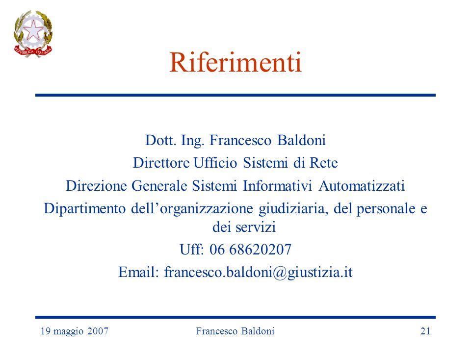 19 maggio 2007Francesco Baldoni21 Riferimenti Dott.