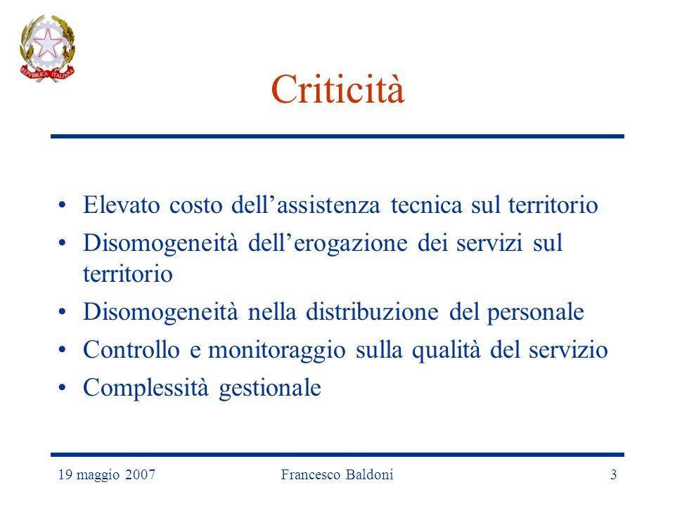 19 maggio 2007Francesco Baldoni3 Criticità Elevato costo dellassistenza tecnica sul territorio Disomogeneità dellerogazione dei servizi sul territorio Disomogeneità nella distribuzione del personale Controllo e monitoraggio sulla qualità del servizio Complessità gestionale
