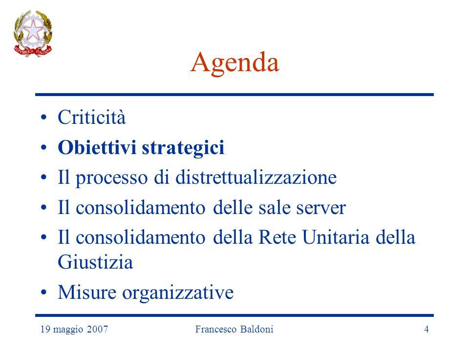 19 maggio 2007Francesco Baldoni4 Agenda Criticità Obiettivi strategici Il processo di distrettualizzazione Il consolidamento delle sale server Il consolidamento della Rete Unitaria della Giustizia Misure organizzative