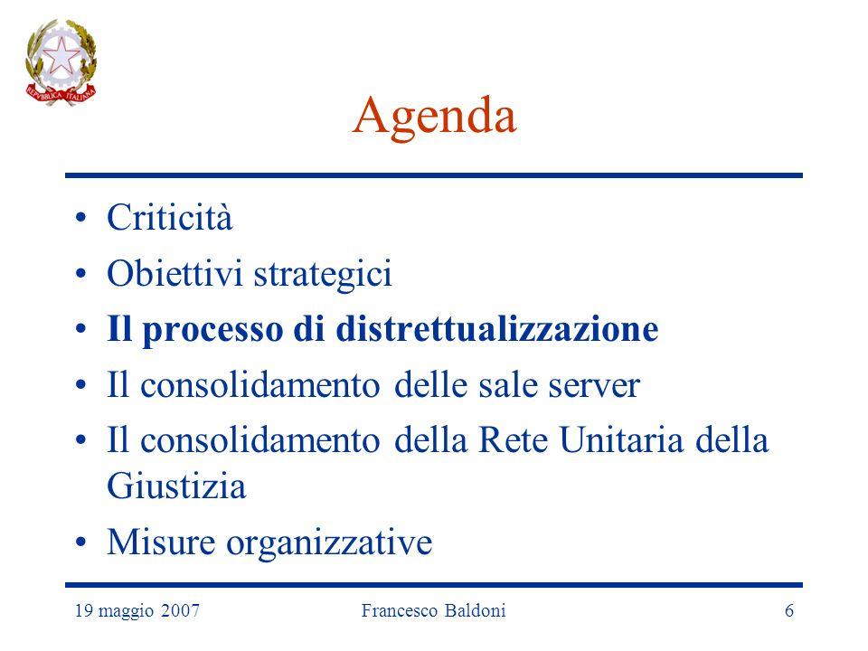 19 maggio 2007Francesco Baldoni6 Agenda Criticità Obiettivi strategici Il processo di distrettualizzazione Il consolidamento delle sale server Il consolidamento della Rete Unitaria della Giustizia Misure organizzative
